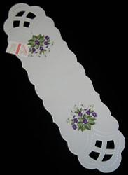 German Violet Linen Oval Table Topper