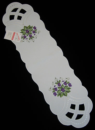 German Violet Linen Oval Table Topper