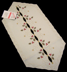 Holiday Holly Linen Table Runner