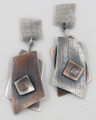 Sterling & Bronze Layered Asymetric Dangle Post Earrings