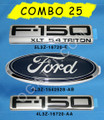 F150 XLT 5.4 EMBLEM COMBO SET 3 PIECES FOR FENDER, FOR TAILGATE AND OVAL FORD FOR TAILGATE OR GRILLE 2004-2008