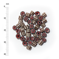 Millefiori - 50g pack (M053), red, white and brown, 3-4mm