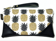 Black and White Sparkle Pineapple Leather clutch