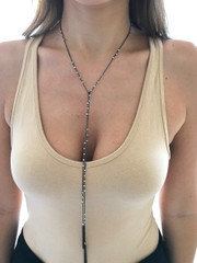 Oxidized Sterling Silver Lariat Wrap necklace