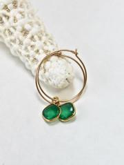Green Onyx Bezel Hoop earring