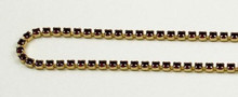 12PP (1.9mm) Siam Ruby rhinestone cup chain, 120 stones per foot