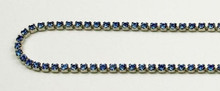 12PP (1.9mm) Sapphire rhinestone cup chain, 120 stones per foot