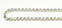 18PP (2.5mm) Crystal AB rhinestone prongless chain, 84 stones per foot