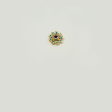 MR233-CRB; 11MM diameter round setting with nine 18PP Crystal AB border rhinestones and one 19SS center stone - 4 pieces per package
