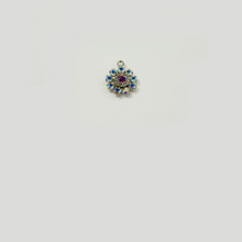 MR233/R-CRB; 1 ring, 11MM diameter round setting with nine 18PP Crystal AB border rhinestones and one 19SS center stone - 4 pieces per package