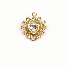 MH626/R-CR; 12 - 14pp (2.10mm) stone Round and 6.50mm Heart setting, approx. 12.0mm, 1 ring, Crystal - 4 pieces per package