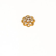 MRF191-CR; 6 -14pp (2.10mm) stone Round and 6.50mm Flower filigree finding, approx. 10.0mm, Crystal - 6 pieces per package