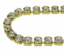 30SS (6.50mm) Crystal rhinestone prongless cup chain, 37 stones per foot