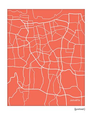 Jakarta Indonesia city map art