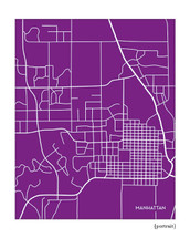 "Manhattan Kansas City Map (ask for ""KSU purple"" in the checkout notes to custom match the school color)"