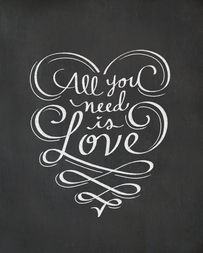 all you need is love chalkboard print