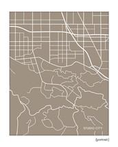 Studio City California city map art