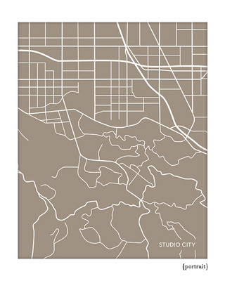 Studio City California city map art
