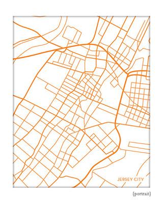 Jersey City Map Print, portrait
