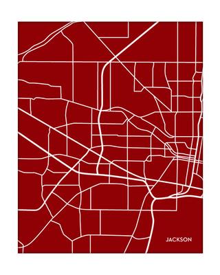 Jackson Mississippi Portrait City Map