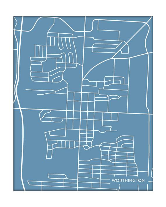 Worthington Ohio City Map