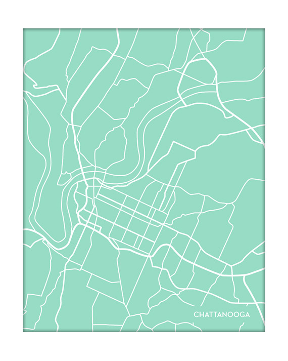 chattanooga tennessee city map on