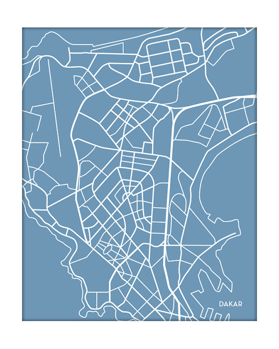 dakar senegal city map on