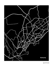 Panama City Map Art Print