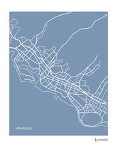 Honolulu Hawaii City Map Print
