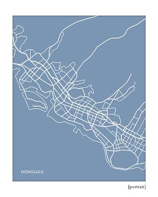 Honolulu Hawaii City Map Print