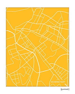 Schenectady New York City Map Print
