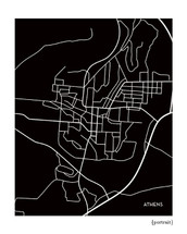 Athens Ohio City Map Print