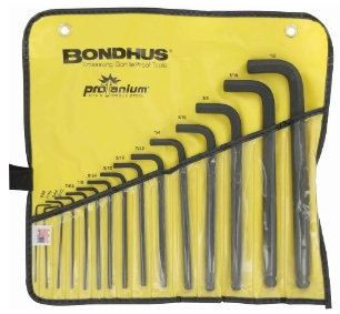 "10935, Bondus, 15pc SAE Ball-end ""L"" Hex Wrench Set .050-1/2"" USA $20.95"
