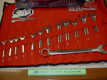 "14pc SAE Combo Wrench Set, 3/8"" to 1-1/4"" with Canvas Wrap ATD"