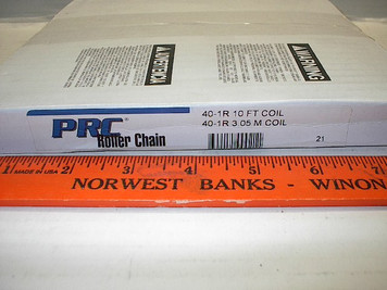 #40 10' Roller Chain Drives Inc. PRC w/connector link, Import
