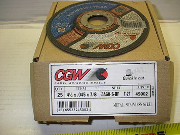 "4.5""x.045x7/8"" Type 27, Thin Cut-Off Wheels, ZA60 grit 13,300rpm"