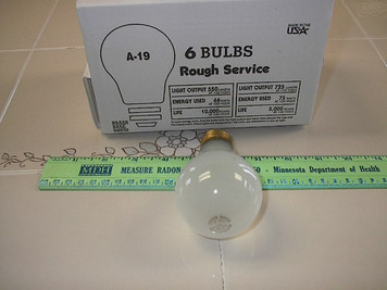 75 Watt Frost Rough Service Light Bulbs, 10,000 hr, 6 pack USA