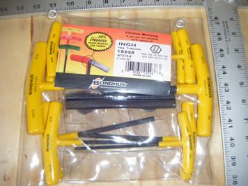 """Bondhus 15238 10pc Hex T-Handle Set, 6"""" length, sizes 3/32-3/8"""""""