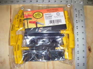 """Bondhus 15290 10pc Hex T-Handle Set w/ Stand, 6"""" Length, sizes 3/32-3/8"""""""