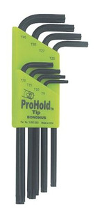 Bondhus 71834, Set of 8 ProHold Star Tip L-Wrenches, sizes T9 - T40