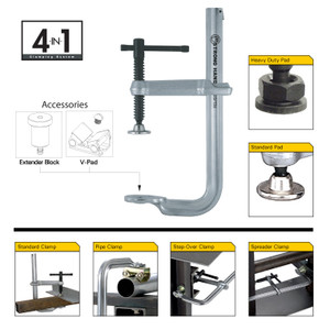 """UG-85 4-in-1 Adjustable Welding Clamp 1200 lb. 8.5""""x4.3/4"""" w/ pipe clamp/ext"""