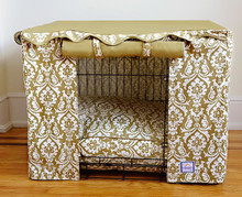 Damask Tan Crate Cover