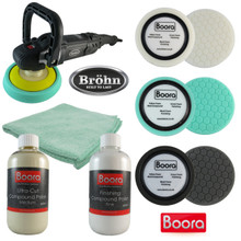 Brohn Black Ice PRO Car Polisher 1400W & Boora Sponge and Compound Polish Kit …