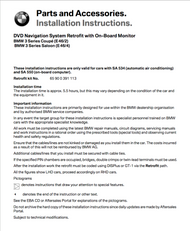 BMW E46 Navigation Retrofit PDF Instructions Sedan/Coupe