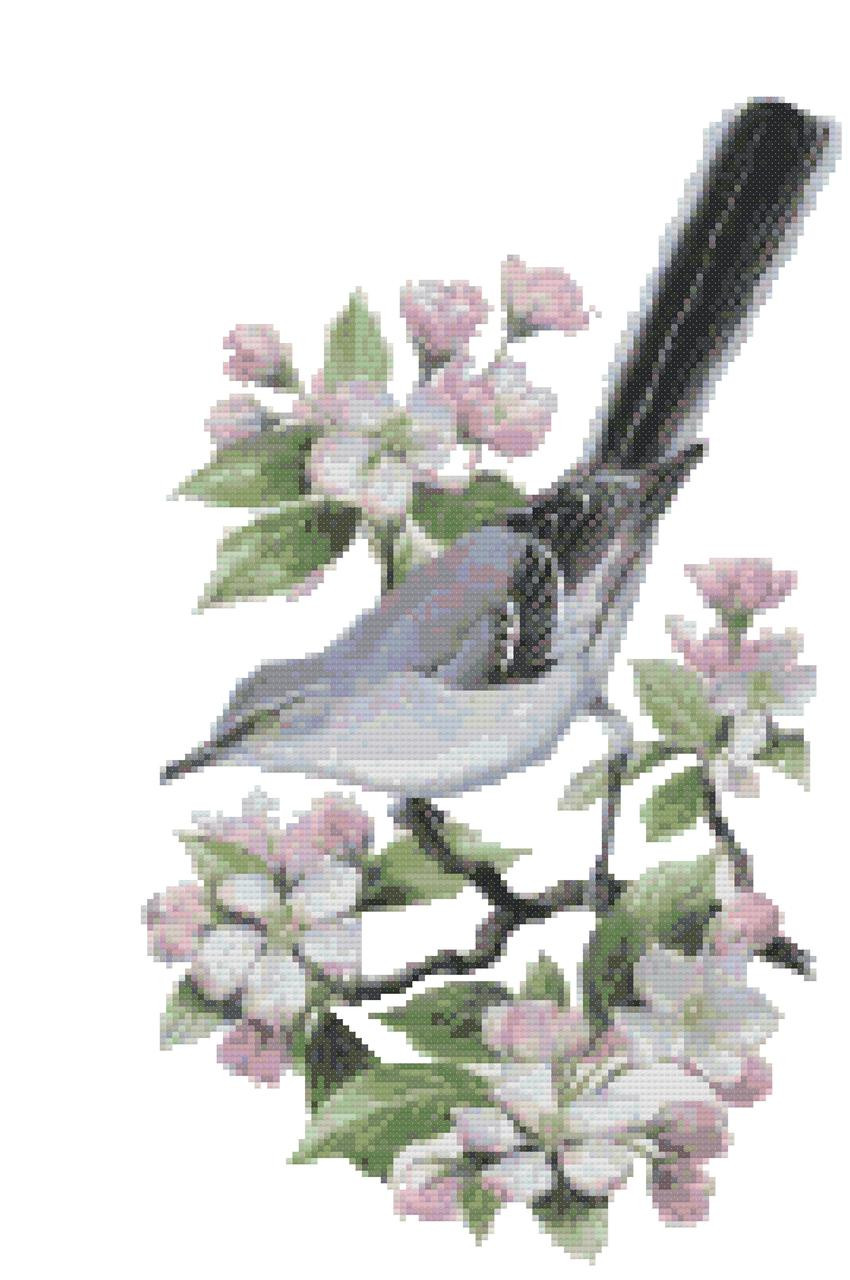 Iowa State Bird and Flower Eastern Goldfinch and Wild Rose Counted Cross Stitch Pattern