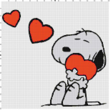 Snoopy Hugging Hearts