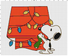 Snoopy Decorating the Dog House