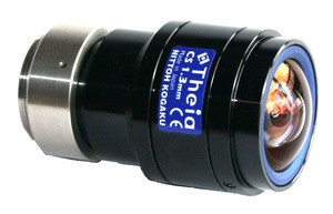 "Theia Technologies MY125M 1/2.5"" 1.28mm F1.8 Manual Iris C-Mount Lens, 5 Megapixel Rated, IR Sensitivity, <3% Distortion, 135° HFOV (on 1/2.5"" Sensor)"