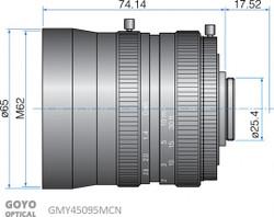"Goyo Optical GMY45095MCN 1"" 50mm F0.95 Manual Iris C-Mount Lens, M62 x P0.75 Filter Thread"