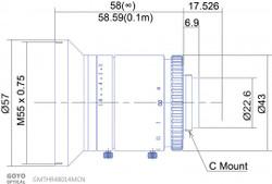 "GMTHR48014MCN 1"" 8mm F1.4 Manual Iris C-Mount Lens, 3 Megapixel Rated"